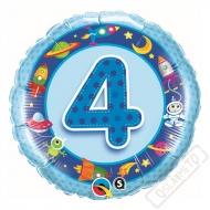 Nafukovací balónek Bambino s číslem 4 modrý 45cm