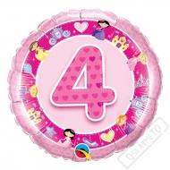 Nafukovací balónek Bambino s číslem 4 růžový 45cm