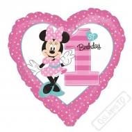Nafukovací balónek 1.narozeniny Minnie 45cm