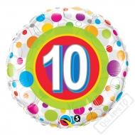 Nafukovací balónek s puntíky a číslem 10, 45cm