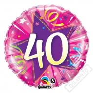 Narozeninový balónek Star 40 růžový, 45cm