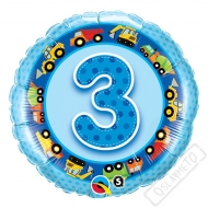 Nafukovací balónek Bambino s číslem 3 modrý 45cm