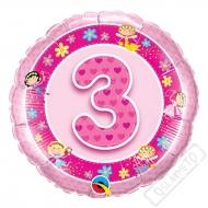 Nafukovací balónek Bambino s číslem 3 růžový 45cm