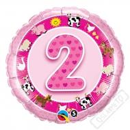 Nafukovací balónek Bambino s číslem 2 růžový 45cm