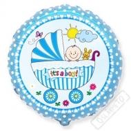 Nafukovací balónek fóliový Chlapeček v kočárku 45cm
