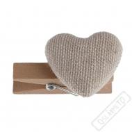 Dekorační dřevěný kolíček Srdce Nature
