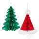 Vánoční papírové dekorace Strom a čepice