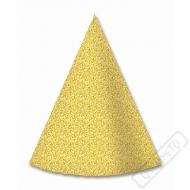 Papírové party kloboučky Glitter Gold