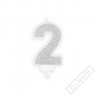 Narozeninová svíčka stříbrná číslo 2
