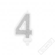 Narozeninová svíčka stříbrná číslo 4