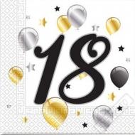 Papírové party ubrousky s číslem 18