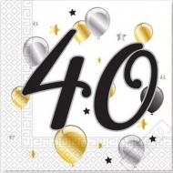 Papírové party ubrousky s číslem 40