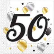 Papírové party ubrousky s číslem 50