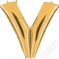 Nafukovací balón zlatý písmeno V 101cm