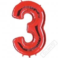 Nafukovací balón číslo 3 červený 101cm