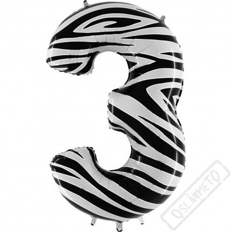 Nafukovací balón číslo 3 Zebra 101cm