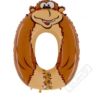Nafukovací balón číslo 0 Zvířátko Opice 101cm