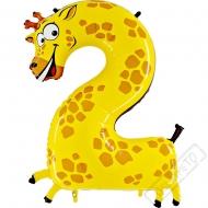 Nafukovací balón číslo 2 Zvířátko Žirafa 101cm