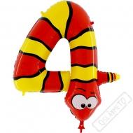 Nafukovací balón číslo 4 Zvířátko Had 102cm
