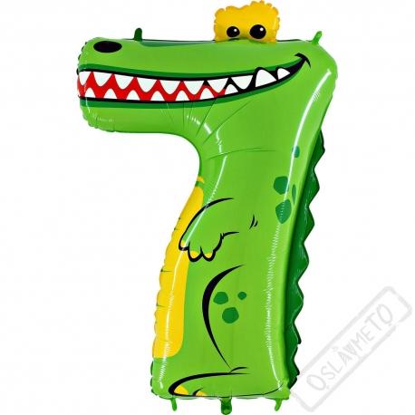 Nafukovací balón číslo 7 Zvířátko Krokodýl 101cm