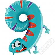 Nafukovací balón číslo 9 Zvířátko Gekon 102cm