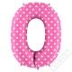 Nafukovací balón číslo 0 s puntíky růžový 102cm