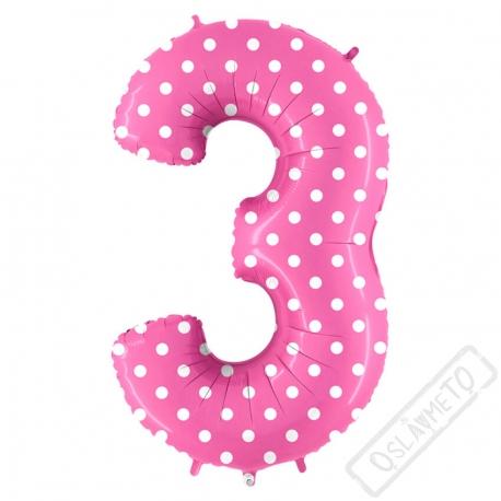 Nafukovací balón číslo 3 s puntíky růžový 102cm