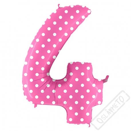 Nafukovací balón číslo 4 s puntíky růžový 102cm