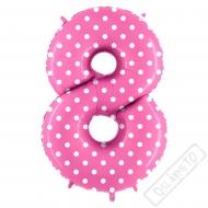 Nafukovací balón číslo 8 s puntíky růžový 102cm