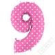 Nafukovací balón číslo 9 s puntíky růžový 102cm