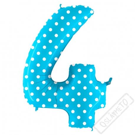 Nafukovací balón číslo 4 s puntíky modrý 102cm