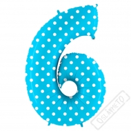 Nafukovací balón číslo 6 s puntíky modrý 102cm