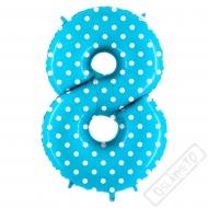 Nafukovací balón číslo 8 s puntíky modrý 102cm