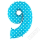 Nafukovací balón číslo 9 s puntíky modrý 102cm