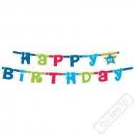 Narozeninová girlanda Happy Birthday modrá