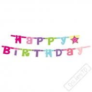 Narozeninová girlanda Happy Birthday růžová