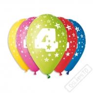 Nafukovací balónek latexový s číslem 4 mix