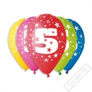 Nafukovací balónek latexový s číslem 5 mix