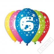 Nafukovací balónek latexový s číslem 6 mix