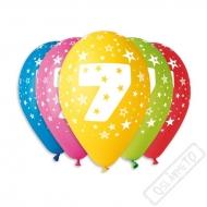 Nafukovací balónek latexový s číslem 7 mix