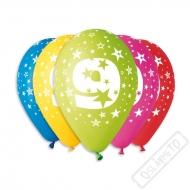 Nafukovací balónek latexový s číslem 9 mix