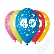 Nafukovací balónek latexový s číslem 40 mix