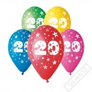 Nafukovací balónek latexový s číslem 20 mix