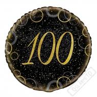 Narozeninový balónek Glitter Black s číslem 100, 45cm