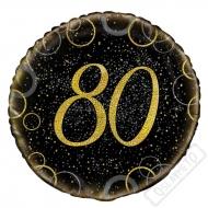 Narozeninový balónek Glitter Black s číslem 80, 45cm