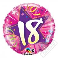 Narozeninový balónek Star 18 růžový, 45cm