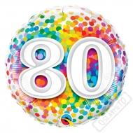 Narozeninový balónek Confetti číslo 80, 45cm