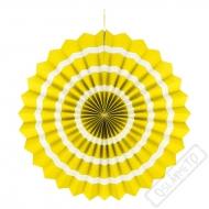 Závěsná papírová rozeta pruhovaná žlutá