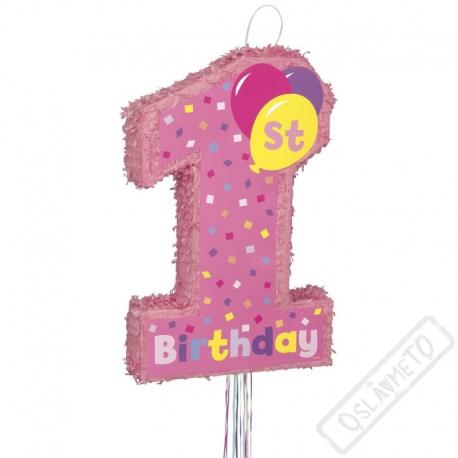 Party Piňata k prvním narozeninám číslo 1 růžová