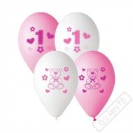 Latexové balónky s potiskem 1. rok holčička